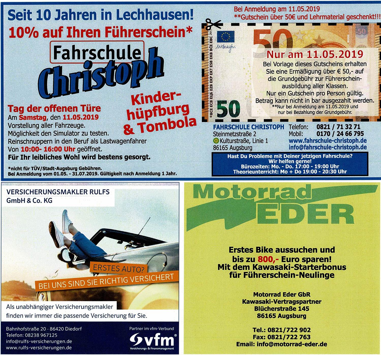 Jubiläumsflyer Fahrschule Christoph Augsburg